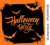 halloween party poster with... | Shutterstock .eps vector #492049438