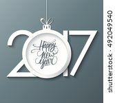 2017 happy new year greeting... | Shutterstock .eps vector #492049540