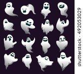 cartoon spooky ghost character... | Shutterstock .eps vector #492053029