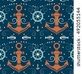 vector seamless pattern with... | Shutterstock .eps vector #492055144