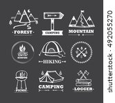 vector set of logos camping and ... | Shutterstock .eps vector #492055270