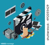 video production flat isometric ... | Shutterstock .eps vector #492055429