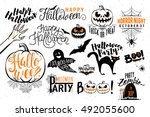 happy halloween celebration... | Shutterstock .eps vector #492055600