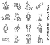 disability icons set  line... | Shutterstock .eps vector #492057529