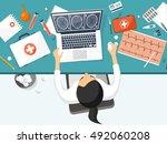 medical flat vector background... | Shutterstock .eps vector #492060208
