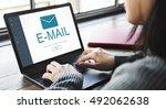e mail digital homescreen... | Shutterstock . vector #492062638