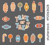 vector set of hand drawn ... | Shutterstock .eps vector #492063628