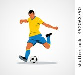 abstract soccer player quick... | Shutterstock .eps vector #492063790