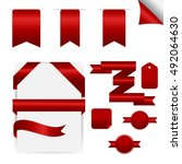 red ribbons set  isolated on... | Shutterstock .eps vector #492064630