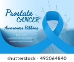 prostate cancer blue ribbon... | Shutterstock .eps vector #492064840