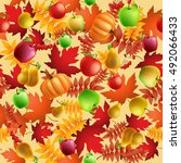 seamless pattern with apples ... | Shutterstock . vector #492066433