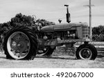 Vintage Tractor In Black   White
