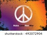 make love not war   hippie... | Shutterstock .eps vector #492072904