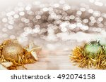 christmas decoration on wooden... | Shutterstock . vector #492074158