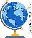 flat image of school globe | Shutterstock .eps vector #492077449