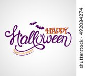 happy halloween  trick or treat.... | Shutterstock .eps vector #492084274