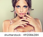 beautiful model girl with pink... | Shutterstock . vector #492086284