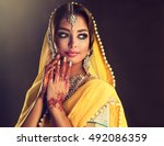 portrait of beautiful indian... | Shutterstock . vector #492086359