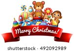 merry christmas label with toys | Shutterstock .eps vector #492092989