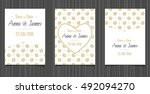 modern wedding invitation with... | Shutterstock .eps vector #492094270