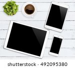 communicator device phone and... | Shutterstock . vector #492095380