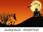 halloween design   landscape...   Shutterstock . vector #492097510