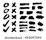 vector set of black brush... | Shutterstock .eps vector #492097594