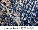 aerial view of the skyscrapers... | Shutterstock . vector #492104848