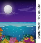 sea with moon above | Shutterstock .eps vector #492108730