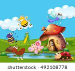 insects flying around the pond... | Shutterstock .eps vector #492108778