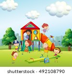 kids playing in playground | Shutterstock .eps vector #492108790