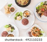 mixed vegan food on the table | Shutterstock . vector #492110233
