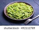 pasta with spinach pesto sauce  ... | Shutterstock . vector #492112789