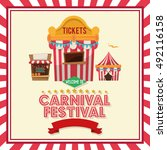 striped ticket tent of carnival ... | Shutterstock .eps vector #492116158