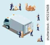 moving house  moving office ... | Shutterstock .eps vector #492119608