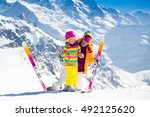 family ski vacation. group of... | Shutterstock . vector #492125620