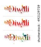 happy diwali text design... | Shutterstock .eps vector #492129739