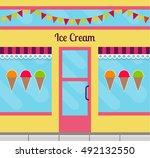ice cream shop facade in flat... | Shutterstock . vector #492132550