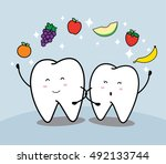 cute cartoon tooth and fruit | Shutterstock .eps vector #492133744