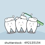 cute cartoon smiling tooth and... | Shutterstock .eps vector #492135154