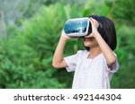 child with virtual reality...   Shutterstock . vector #492144304