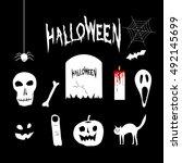 halloween hand draw elements...   Shutterstock .eps vector #492145699