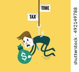 tied business man with tax... | Shutterstock .eps vector #492149788
