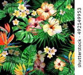 floral pattern beautiful... | Shutterstock . vector #492149953