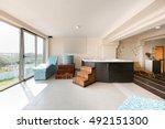 hot stone and massage bath tub... | Shutterstock . vector #492151300
