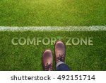 comfort zone concept  male with ... | Shutterstock . vector #492151714