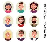 set avatars people. vector... | Shutterstock .eps vector #492154210