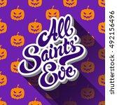all saints eve hand drawn...   Shutterstock .eps vector #492156496