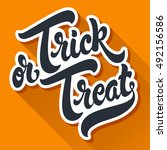 trick or treat hand drawn... | Shutterstock .eps vector #492156586