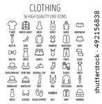 set of clothing icons in modern ... | Shutterstock .eps vector #492156838